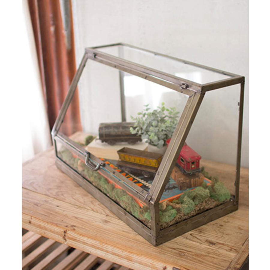 Glass and metal display cabinet