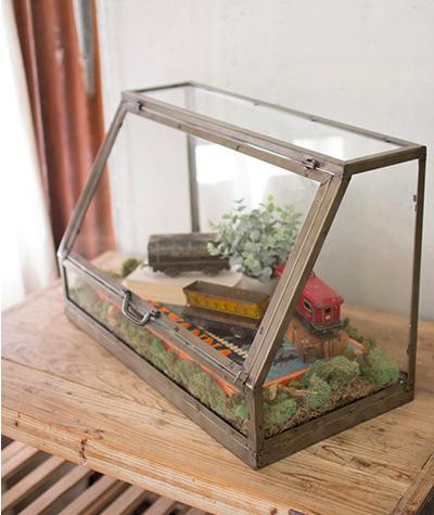 Kalalou Glass and metal display cabinet