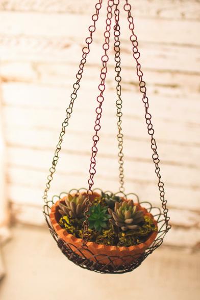 Kalalou Hanging Wire Wrapped Terracotta Pot