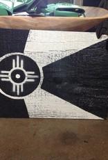 Rob Wagner-Cartobe Designs B & W Wichita Flag Wood Wall Hanging
