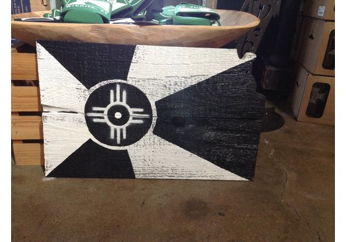 Rob Wagner-Cartobe Designs B & W Wichita Flag Wood Wall Hanging