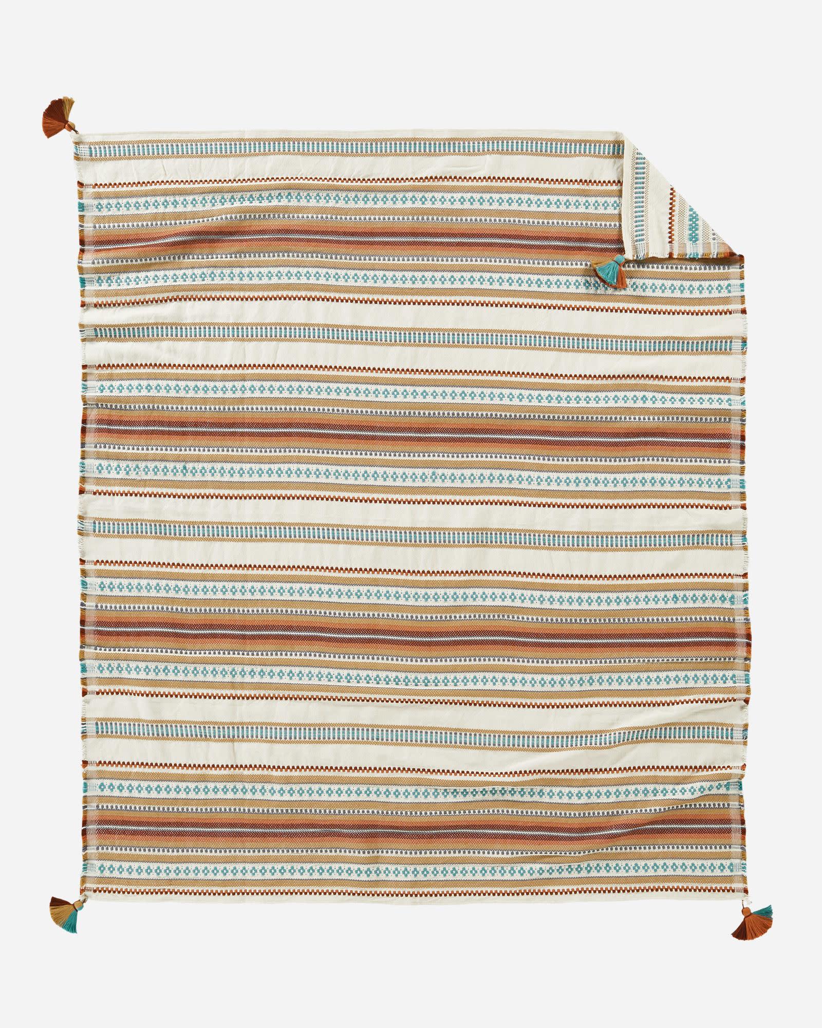 Pendleton Cotton Jacquard Throw with Carrier Paloma Stripe