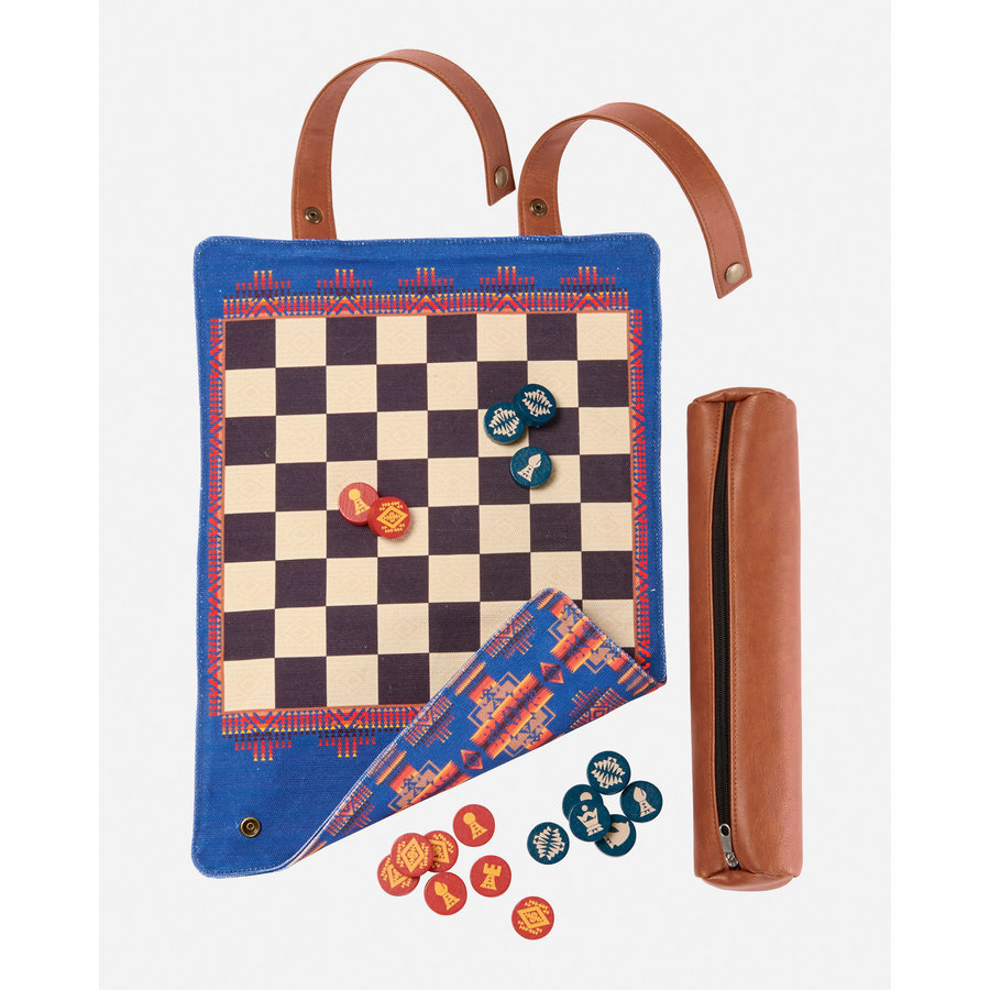 Pendleton Chess & Checker Set: Travel-Ready Roll-Up Game