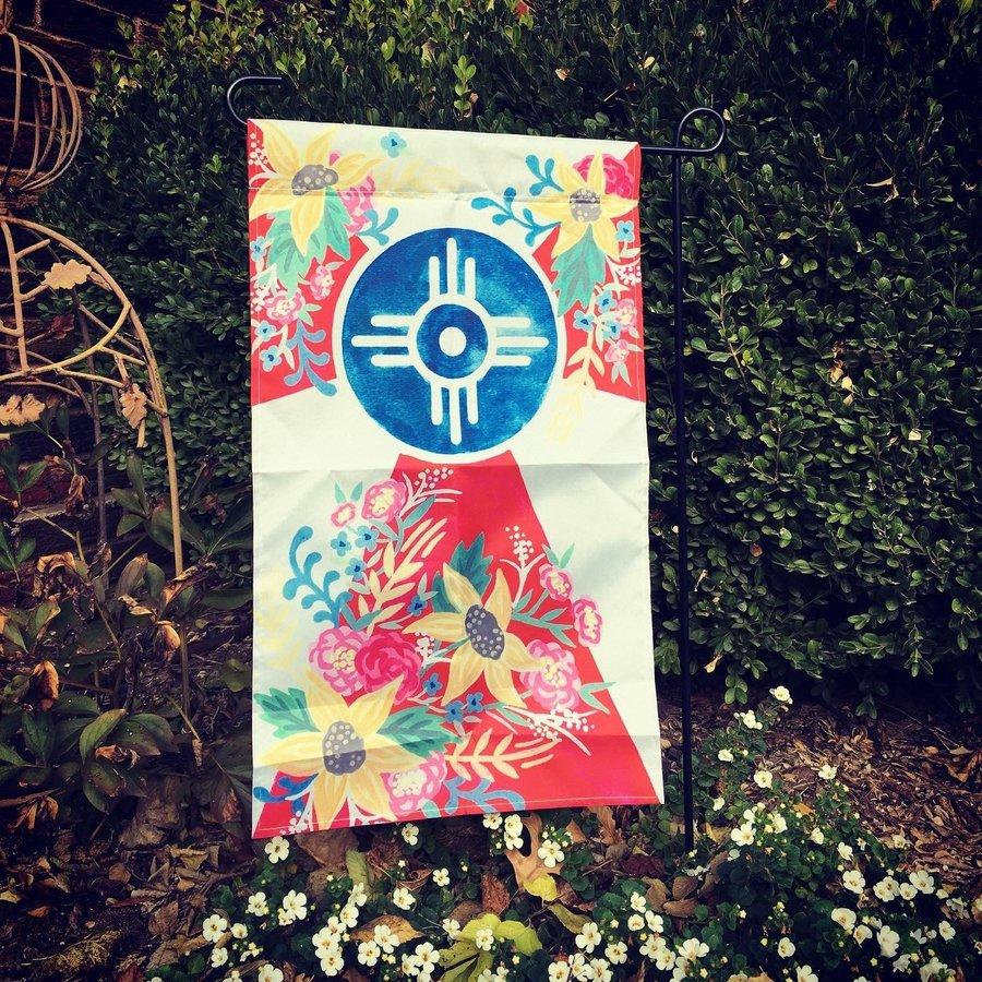 """Floral Wichita Garden Flag 12x20"""" No.1"""
