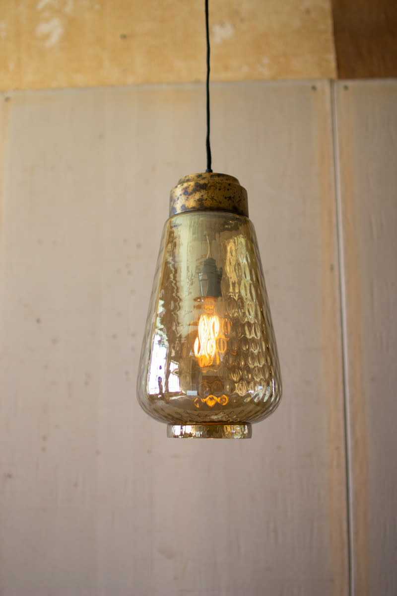 Kalalou Smoke Luster Glass Pendant Light