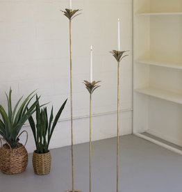 Kalalou Set of 3  Antique Brass Palm Candle Towers
