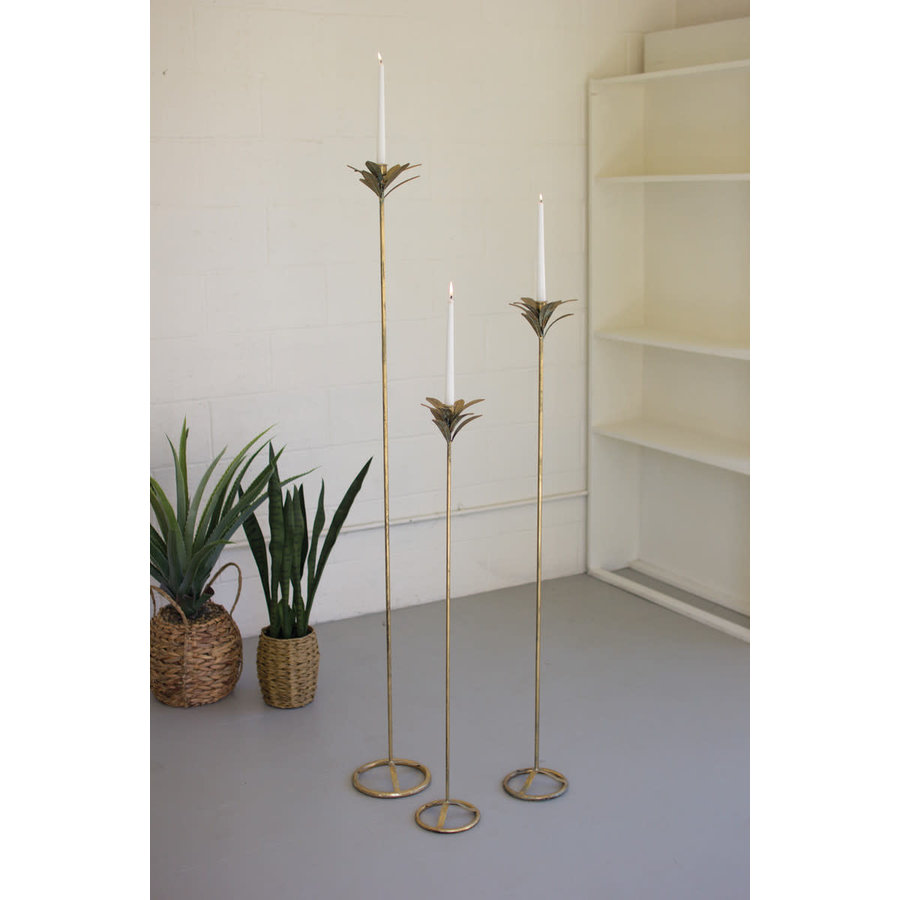Set of 3  Antique Brass Palm Candle Towers