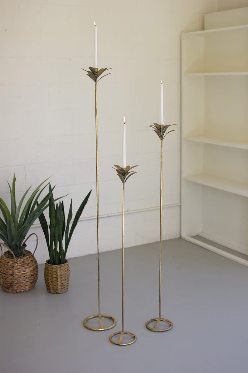 Kalalou Set of 3  Antique Brass Palm Candle Towers