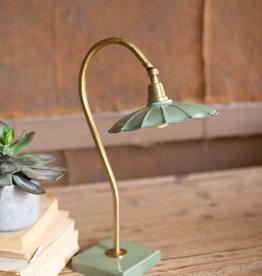Kalalou Antique Brass Goose Neck Table Lamp with Enamel Shade