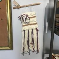 Cream & Tan w/ Pink Silk Ribbon Woven Wall Hanging