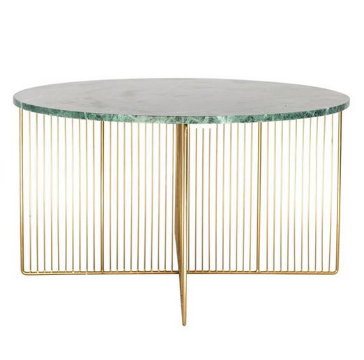 """30"""" Round Iron Table w Marble"""
