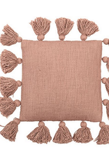 "12"" Square Cotton Pillow w Tassels Rose"