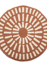 "16"" Round Cotton Pillow Chenille Terra-Cotta"