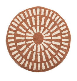 "16"" Round Cotton Pillow Chenille Terra-Cotta"
