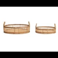 Round Decorative Bamboo Tray Large