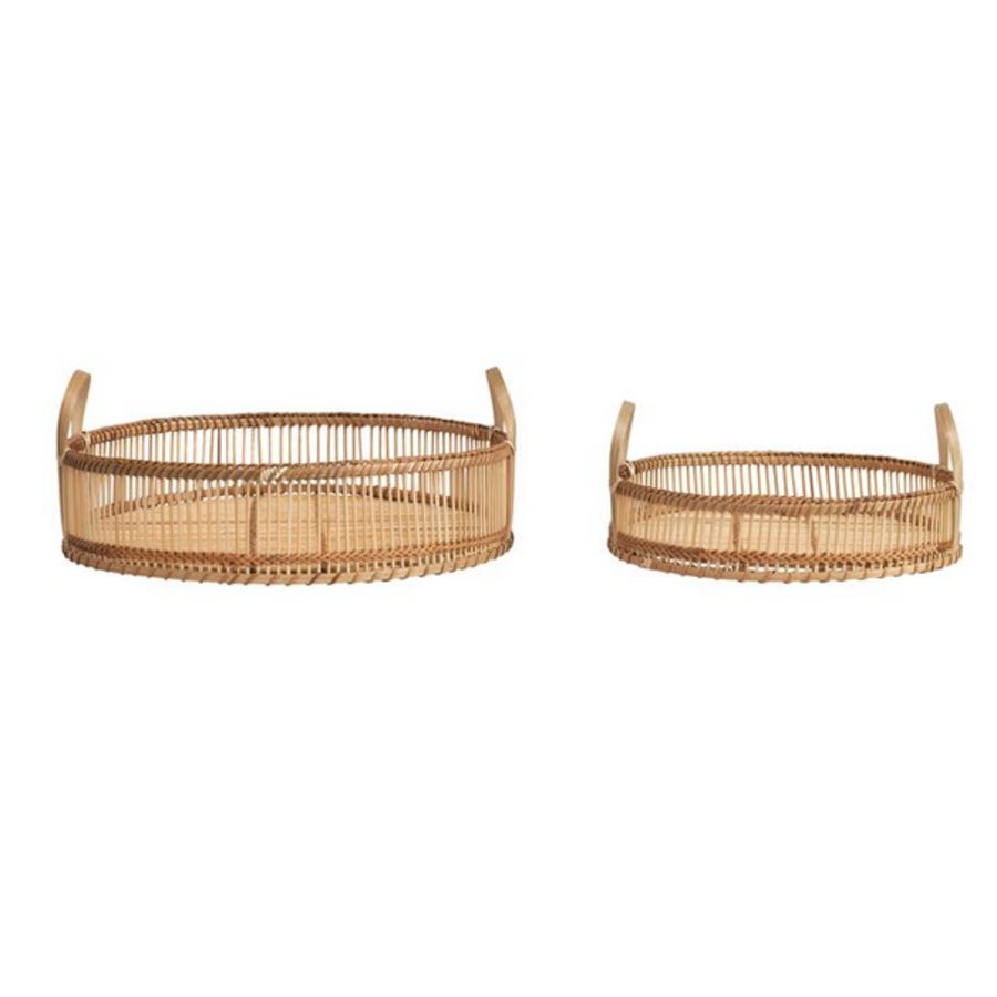 Round Decorative Bamboo Tray Small