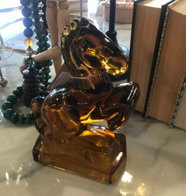 1940's Amber Glass Rearing Horse
