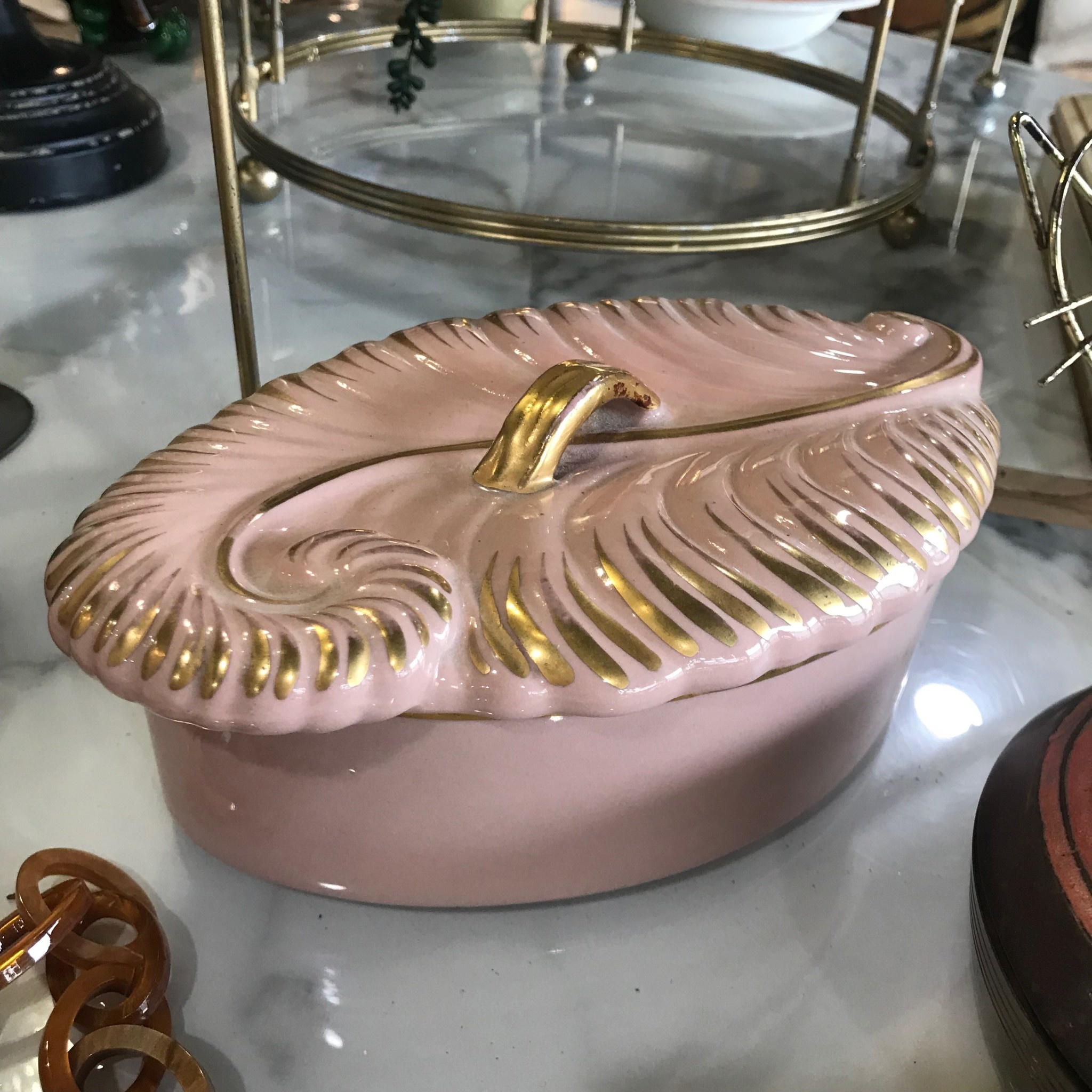 Pink Ceramic Feather Dresser Box