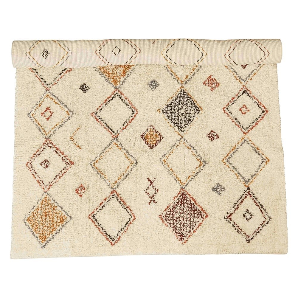 Creativeco-op 4' x 6' Cotton Printed Cut Pile Rug w/ Diamond Pattern, Multi Color