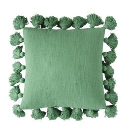 "Creativeco-op 18"" Square Cotton Pillow w/ Tassels, Green"