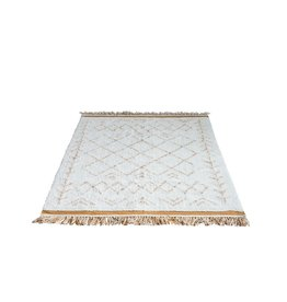 Creativeco-op 4' x 6' Cotton Tufted Rug w/ Fringe, Natural & Mustard