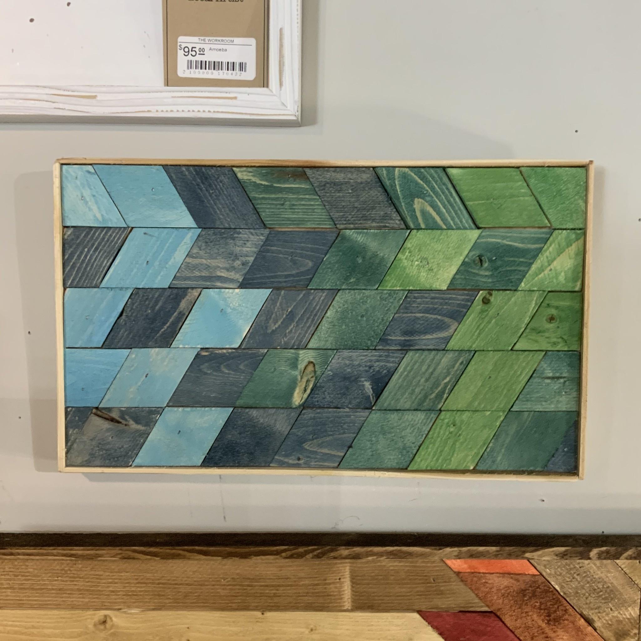 """Glacier Wood Design Co GWD Co Blue & Green Diamonds """"Colors of the Sea"""""""