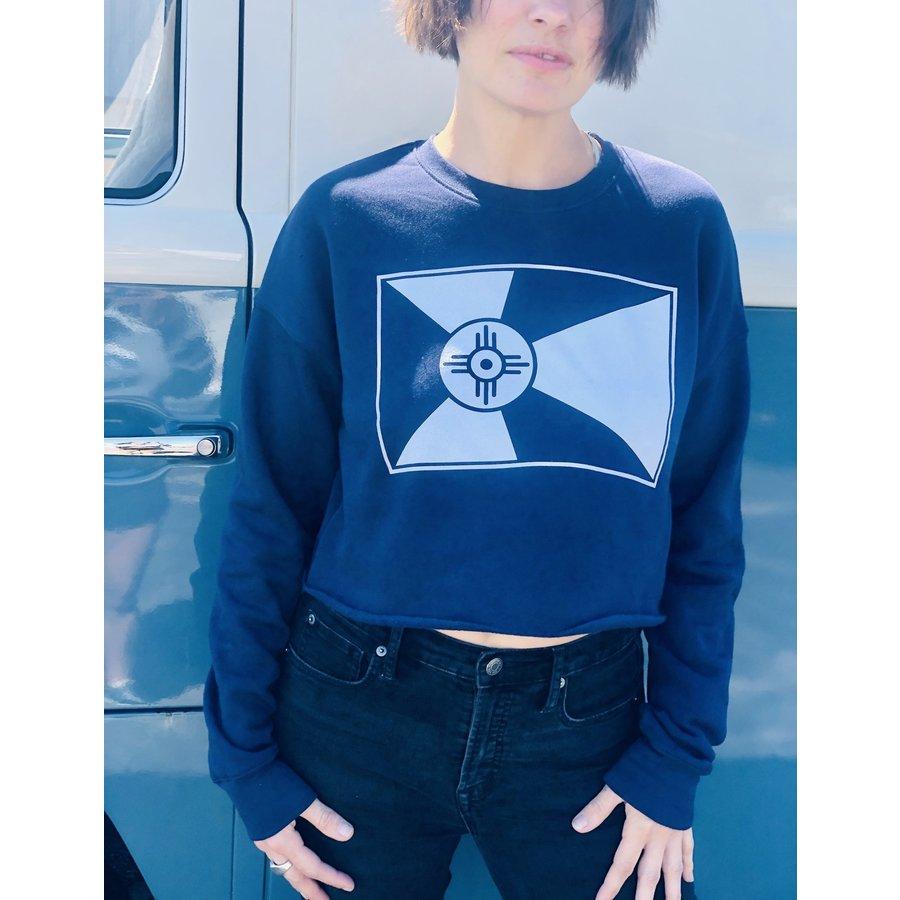 Cropped Flag Crew Sweatshirt