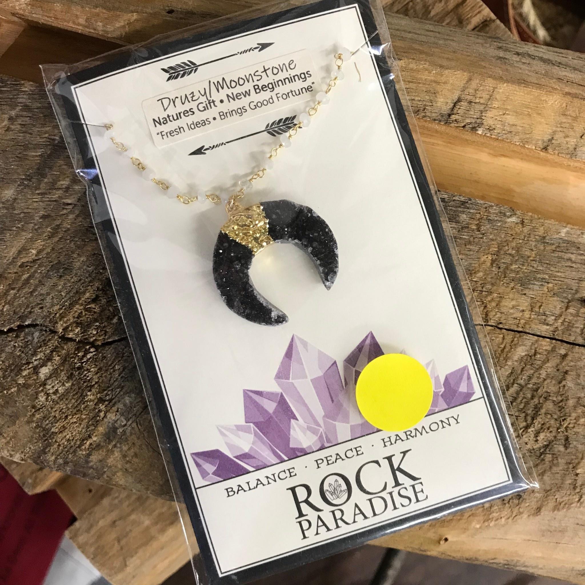 Rock Paradise Druzy Crescent Necklace