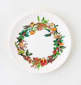 "Onehundred80degrees Christmas Wreath ""paper"" plate 7.5"" set of 4"