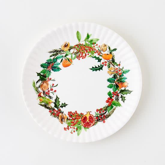 "Onehundred80degrees Christmas Wreath ""paper"" plate 7.5"" set of 4"