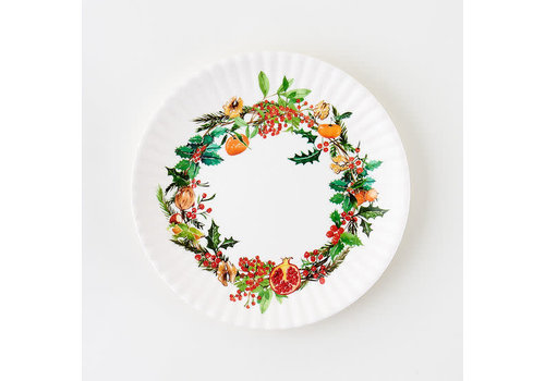 "Onehundred80degrees Christmas Wreath ""paper"" plate 9"" set of 4"