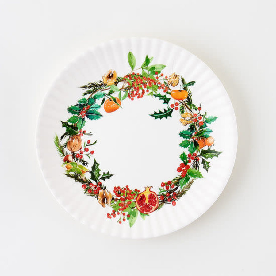 """Christmas Wreath """"paper"""" plate 9"""" set of 4"""
