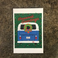 VW Bus Holiday Postcard