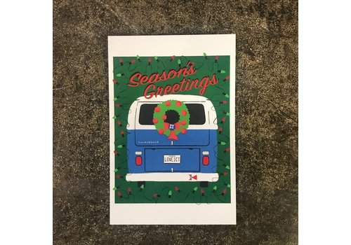 The Workroom VW Bus Holiday Postcard