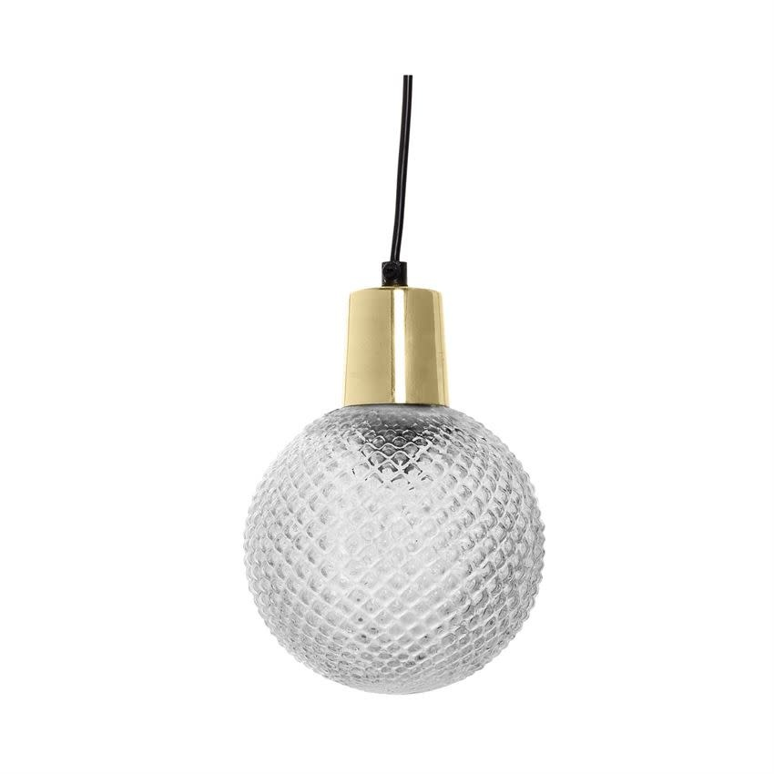 """Bloomingville 6-1/2"""" Round 8""""H Etched Glass Pendant Lamp"""