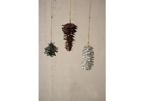 METAL PINECONE CHRISTMAS ORNAMENT