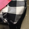 Round Black Fringe Checkered Tablecloth
