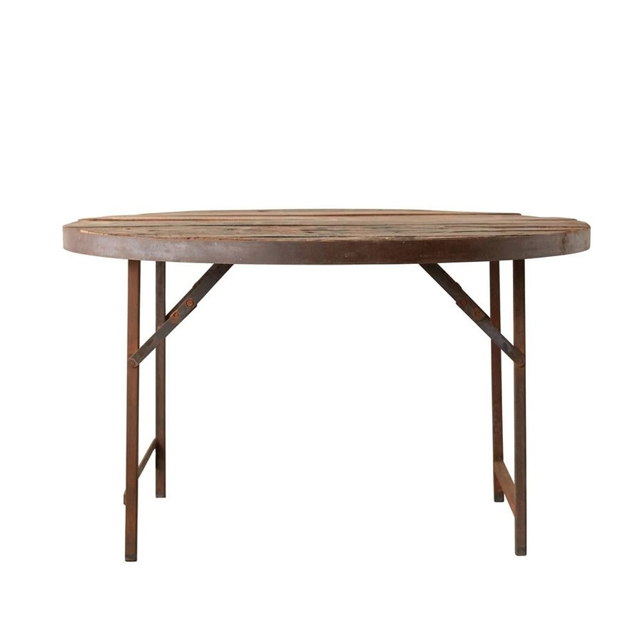 Found Wood/Metal Folding Tent Dining Table