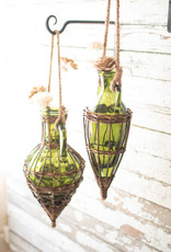 Kalalou Hanging Green Glass and Wicker Wrapped Bud Vase