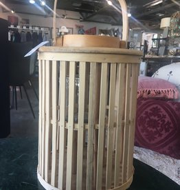 Kalalou SM Round Natural Bamboo Lantern with Glass