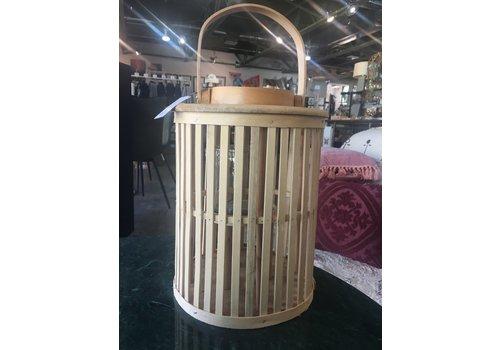 Kalalou SM Round Natural Bamboo Lantern with Glass
