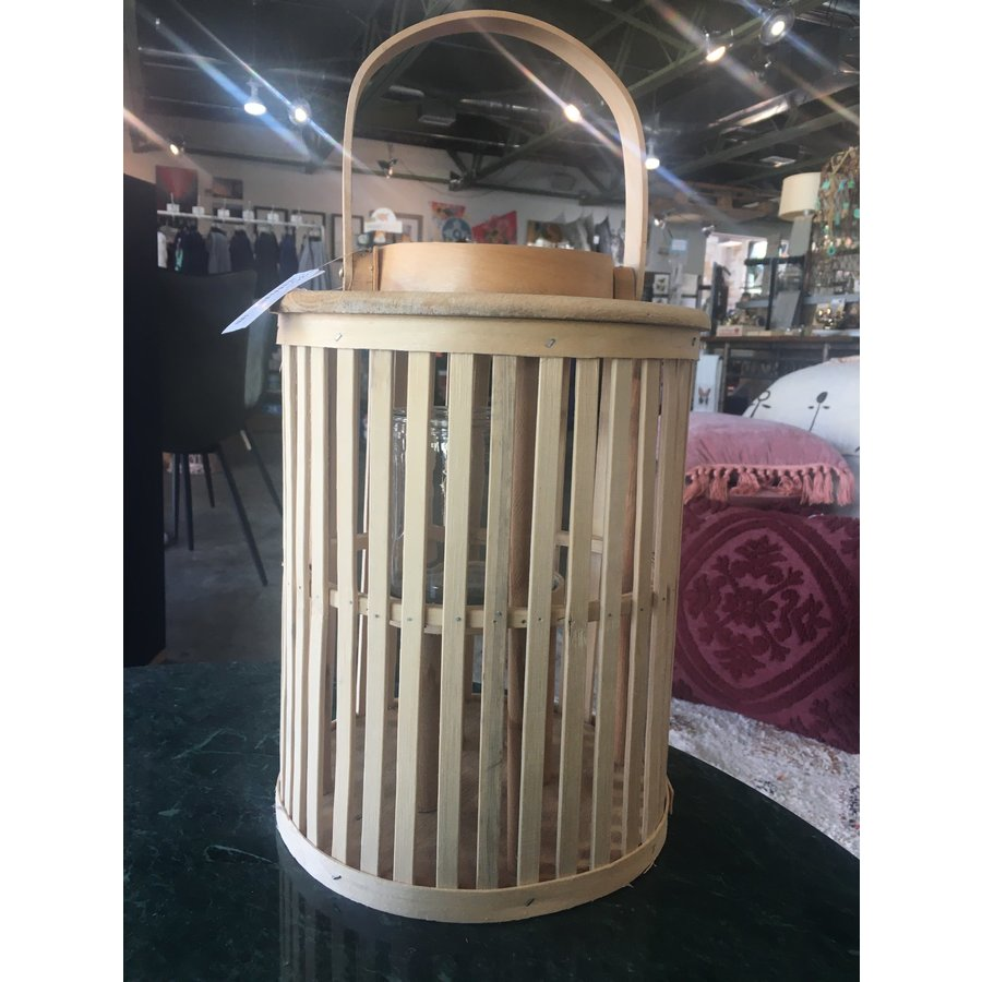 SM Round Natural Bamboo Lantern with Glass