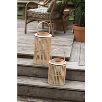 LG Round Natural Bamboo Lantern with Glass