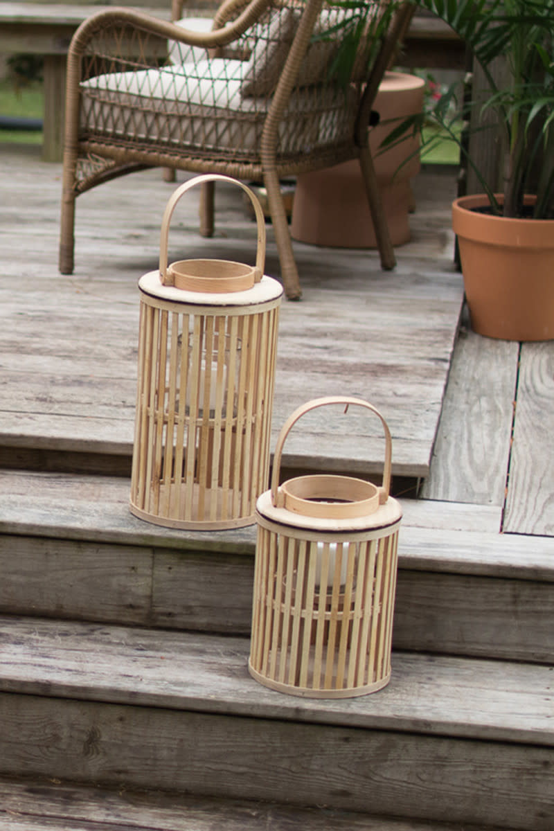 Kalalou LG Round Natural Bamboo Lantern with Glass