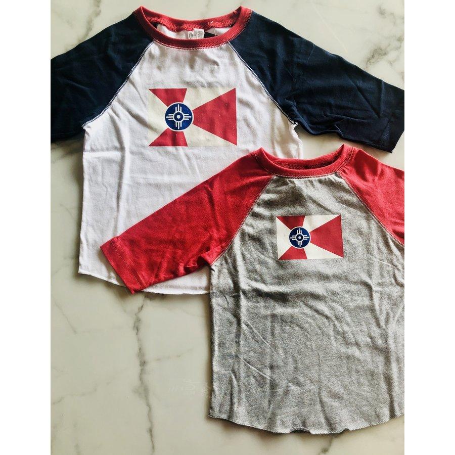 Wichita Flag Blue Raglan Toddler/Youth Shirt