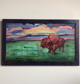 Emily Miller Yamanaka Sunset on the Plains Framed 12x22