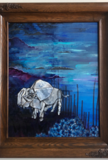 Emily Miller Yamanaka Bison in the Night Flowers Framed 16x20