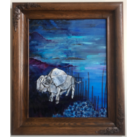 Bison in the Night Flowers Framed 16x20