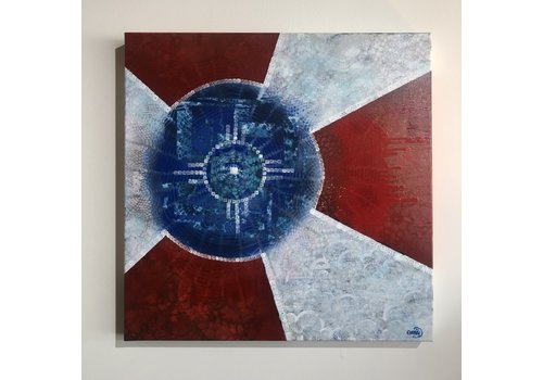 Emily Miller Yamanaka Wichita Flag Original Art 20x20