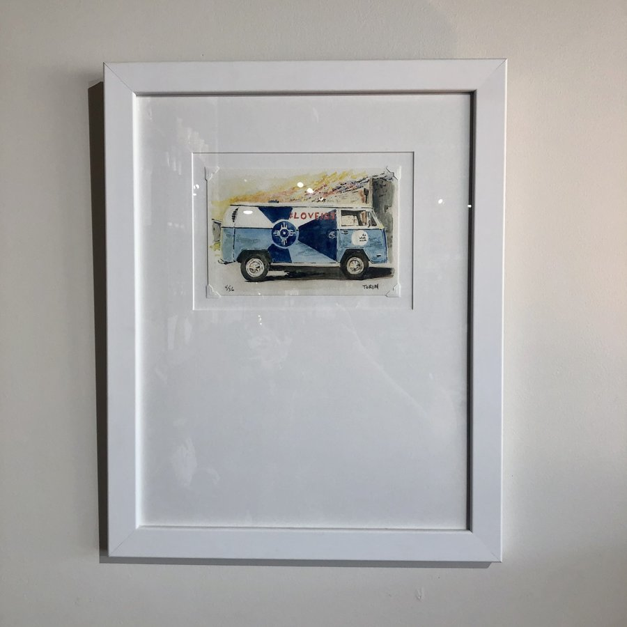 VW Bus Watercolor Framed Signed Print
